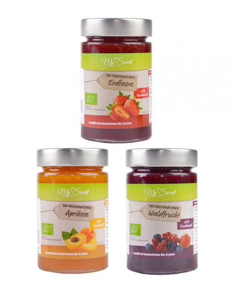 Probierset My Sweet Bio-Fruchtaufstrich Aprikose, Erdbeere & Waldfrucht, je 1 x 225g
