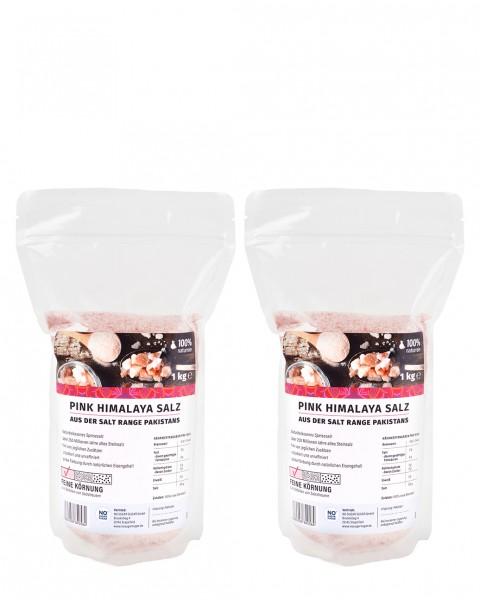 2 x Pink Himalaya Salz, feine Körnung, 1 kg
