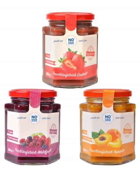Probierset Fruchtaufstrich Aprikose, Erdbeere & Waldfrucht, je 1 x 260g