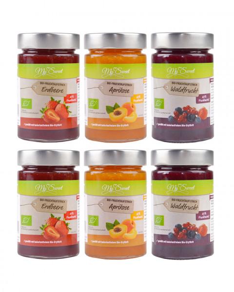 Probierset My Sweet Bio-Fruchtaufstrich Aprikose, Erdbeere & Waldfrucht, je 2 x 225g