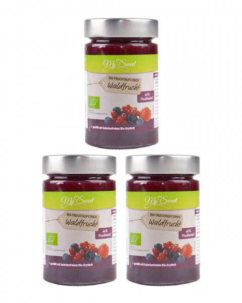 3er Pack My Sweet Bio-Fruchtaufstrich Waldfrucht, je 1 x 225g